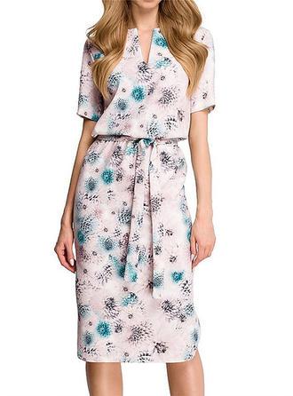 Floral V-neck Midi A-line Dress