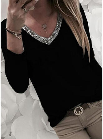 Solid Sequins V-Neck Long Sleeves Casual Knit T-shirts