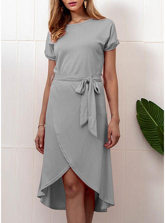 Solid Round Neck Asymmetrical Shift Dress