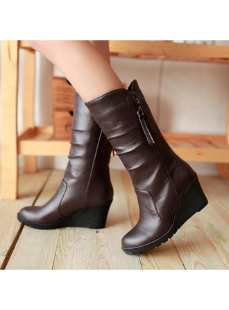 Women's PU Wedge Heel Mid-Calf Boots Snow Boots With Ruffles Zipper shoes