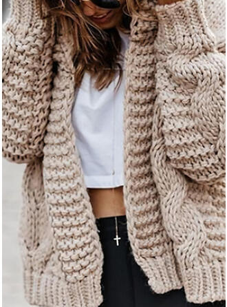 Solid Cable-knit Chunky knit Casual Cardigan