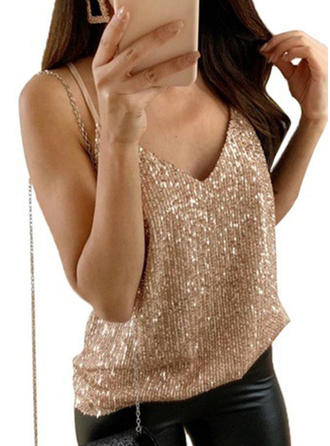 Solid Sequins Spaghetti Strap Long Sleeves Casual Blouses