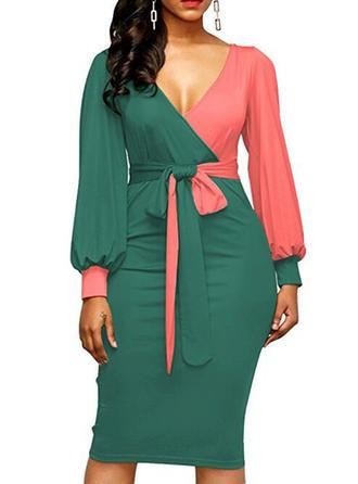 Long Sleeves Bodycon Knee Length Dresses