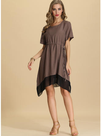 Solid 1/2 Sleeves A-line Asymmetrical Casual Dresses