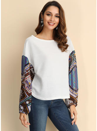 Print Patchwork Round Neck Sweaters