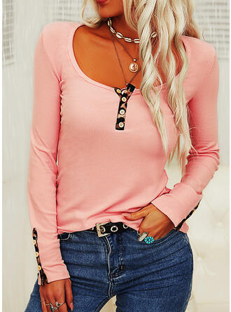 Leopard Knit Round Neck Long Sleeves T-shirts