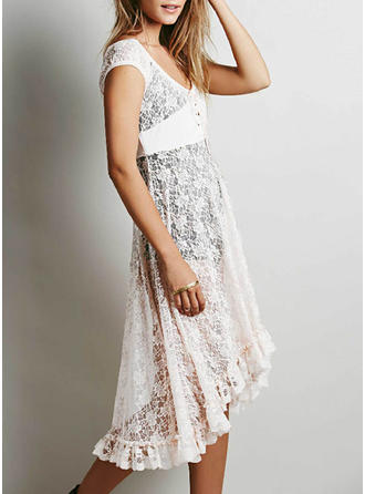 Lace Short Sleeves A-line Mini/Asymmetrical Casual/Vacation Dresses