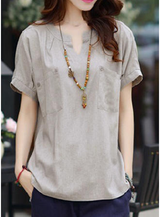 Cotton Linen V Neck Plain Short Sleeves Casual Blouses