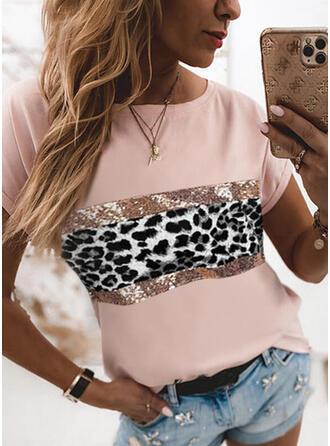 Leopard pailletter Rund hals Korte ærmer T-shirts