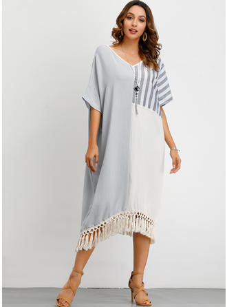 Color-block/Striped Short Sleeves Shift Midi Casual Dresses