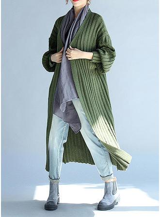 Coton Manches longues Couleur unie Cardigans