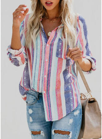 Linen Lapel Striped Long Sleeves Shirt Blouses