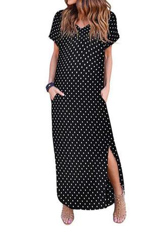 PolkaDot Short Sleeves Shift Casual/Vacation Midi Dresses