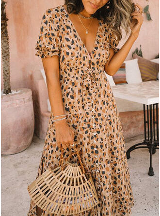 Animal Print Short Sleeves A-line Casual/Vacation Midi Dresses
