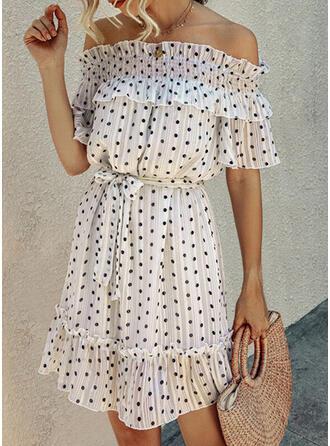 Groszki Rękawy 1/2 W kształcie litery A Nad kolana Casual/Wakacyjna Sukienki