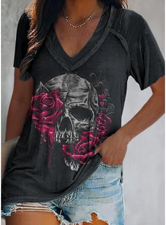 Fleurie Cœur Imprimé Col V Manches Courtes T-shirts
