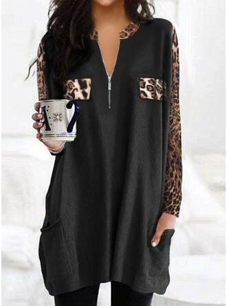 Print Leopard Lommer V-hals Lange ærmer Sweatshirts