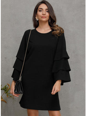 Solid Long Sleeves A-line Knee Length Casual/Party Dresses