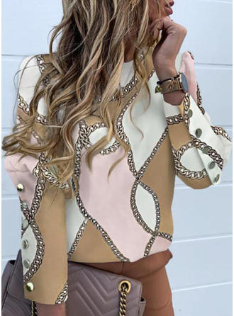 Print Stand collar Long Sleeves Casual Elegant Blouses