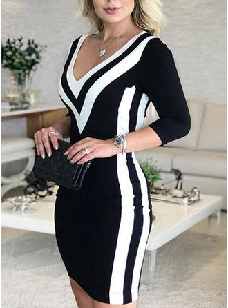 Color-block 3/4 Sleeves Bodycon Above Knee Casual Dresses