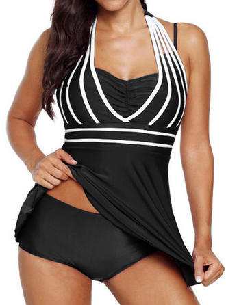 Stripe Halter Fashionable Tankinis Swimsuits