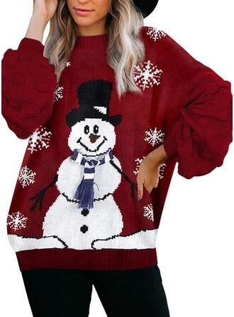Mulheres Poliéster Impressão Camisola de Natal Feio