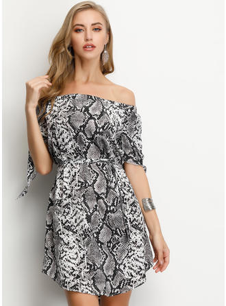 Animal Print 1/2 Sleeves A-line Above Knee Casual Dresses