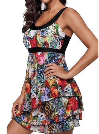 Tropical Print U-Neck Bohemian Swimdresses Swimsuits