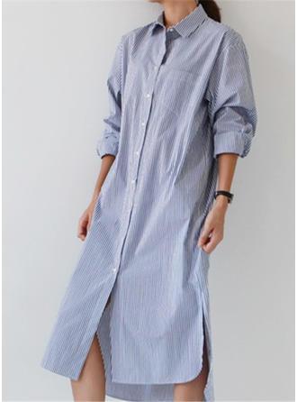 Polyester With Stitching Midi Dress
