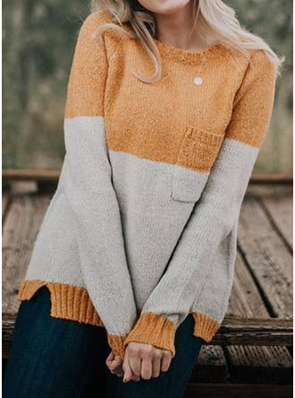 Color Block Chunky knit Pocket Round Neck Sweaters