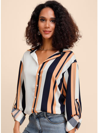 Color block Stribet Lapel Lange ærmer Button-up Casual Elegant Skjortebluser