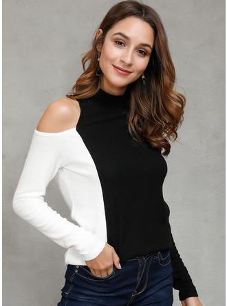 Color Block Stand collar Long Sleeves Casual Blouses