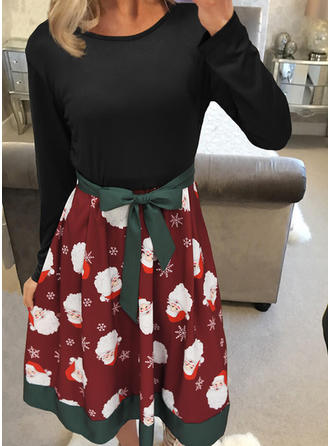Print Long Sleeves A-line Knee Length Vintage/Christmas/Casual/Elegant Dresses