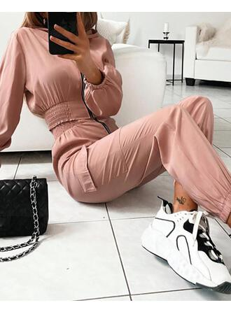 Round Neck Long Sleeves Top & Pants Sets