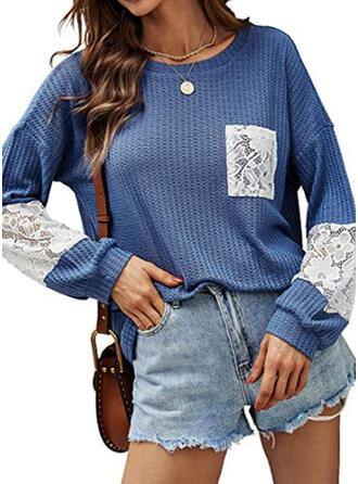 Einfarbig Rundhalsausschnitt Lange Ärmel T-Shirts