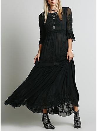 Lace Round Neck Maxi Shift Dress