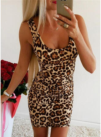 Leopard Sleeveless Bodycon Above Knee Sexy Dresses