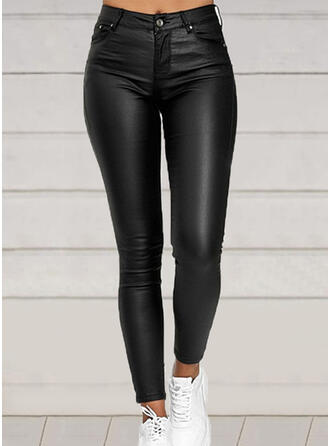 Solid Plus Size Long Elegant Sexy Leather Pants