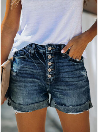 Lommer shirred Plus størrelse Over knæet Casual Sexet Jean Shorts