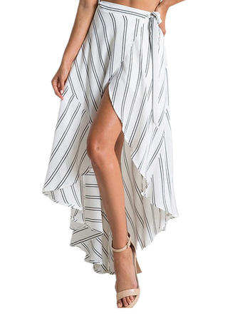 Polyester Striped Above Knee High-Slit Skirts