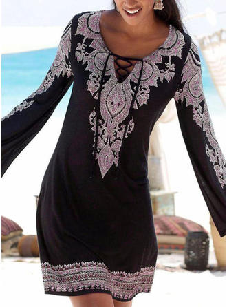 Print Long Sleeves Shift Above Knee Boho/Vacation Dresses
