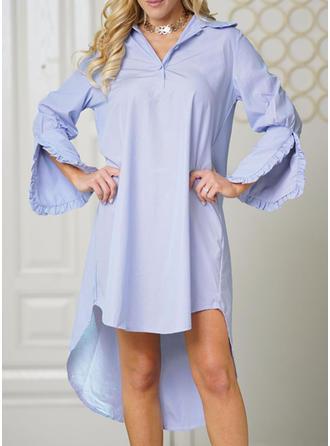Solid Shirt collar Asymmetrical Shift Dress