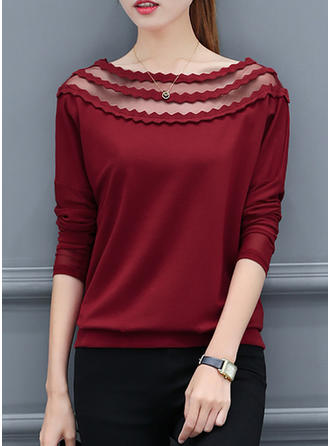 Cotton Round Neck Plain 3/4 Sleeves Casual Blouses