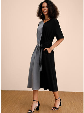 Color-block 1/2 Sleeves A-line Midi Casual/Elegant Dresses