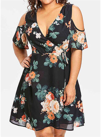 Print/Floral Short Sleeves/Cold Shoulder Sleeve A-line Knee Length Casual/Elegant/Plus Size Dresses
