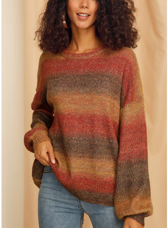 Color Block Cable-knit Chunky knit Round Neck Sweaters