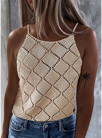 Solid Spaghetti Strap Sleeveless Casual Blouses