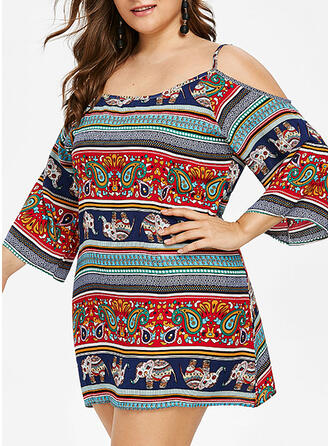 Print 3/4 Sleeves Sheath Above Knee Casual/Boho/Vacation/Plus Size Dresses