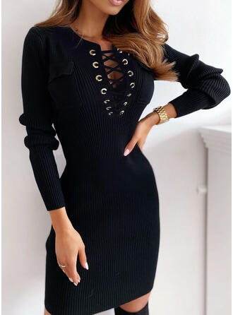 Solid Pocket V-Neck Casual Long Tight Sweater Dress