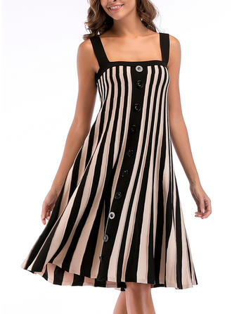 Striped Sleeveless Shift Knee Length Casual Dresses